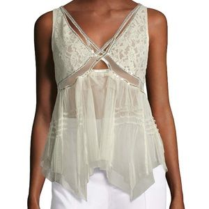 Free People On The Town Ivory Lace/Sequin Camisole